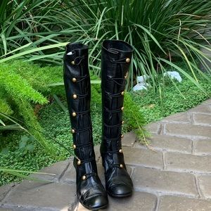 MARC JACOBS Black Leather Boots Gold Buttons